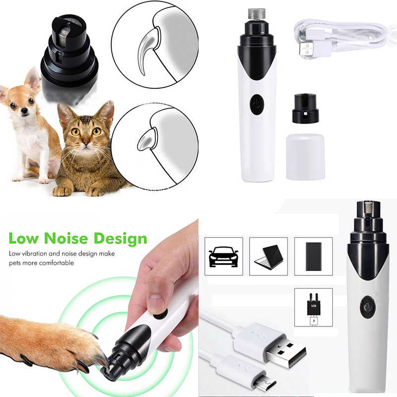 USB Charging Pets Cat Dog Nails Grinders Nail Clippers Quiet Electric Dogs Cats Paws Rechargeable Nail Grooming Trimmer Tools
