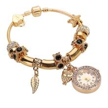 Hot Sales Women Rhinestone Owl Angel Ring Pendant Watches Ladies Charm Analog Quartz Bracelet Wrist Watch 4 Colors   5QQE