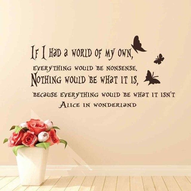 Buy Me Flowers Quote: מדבקות קיר משלוח חינם אליס בארץ הפלאות קיר מדבקת בית