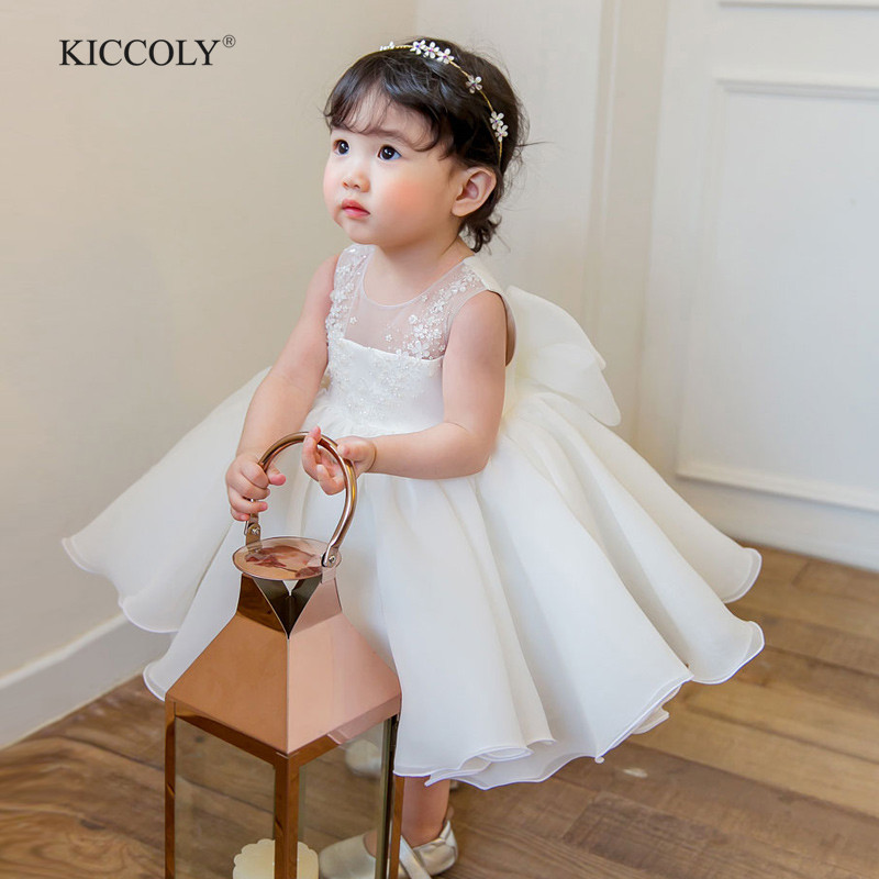 Cute Flower Girls Wedding Dress White Tulle Baby Girl Christening Gown For Party 1 Year Baby Girl Birthday Dress Baptism Clothes