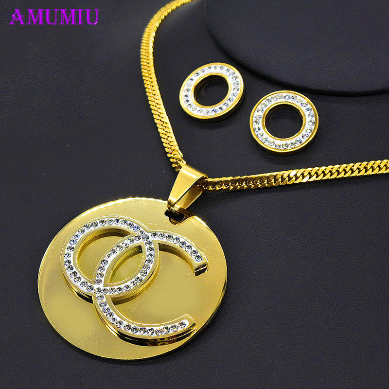 AMUMIU Hot Sale Fashion Women Jewelry Classy Sparking Crystal Necklace Wedding Gold/White Jewelry Set Woman Dress JS086