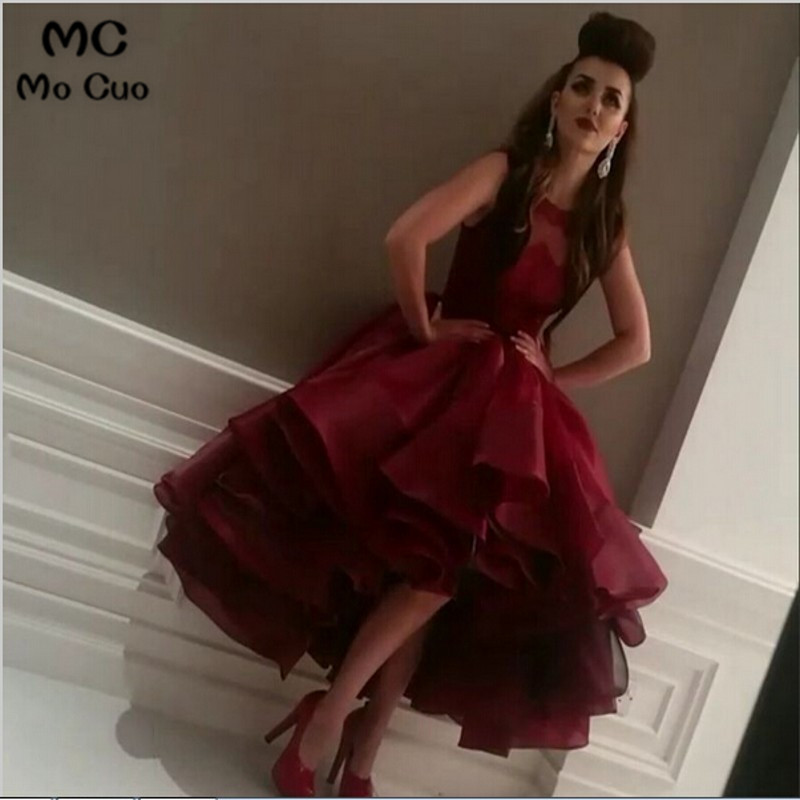 Amazing Awesome 2018 Ball Hi Lo Gown Ruffles Organza Multi Layer Evening   dress   Wine Red Formal Women   Prom     Dresses