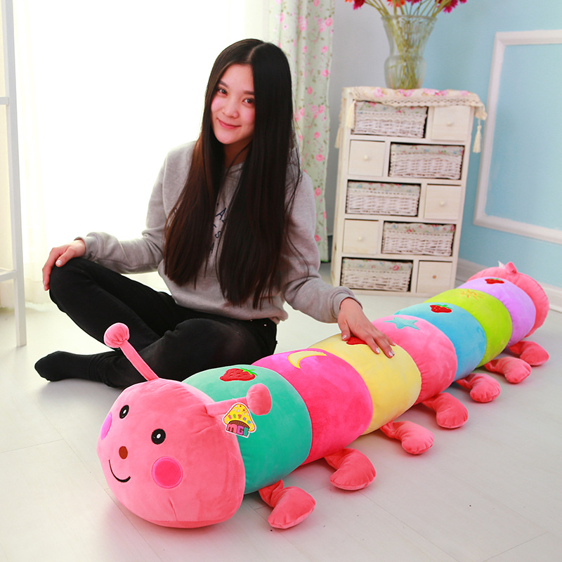 50~190cm Colorful Catoon Caterpillar Plush Toy Doll Soft Comfy Insect Pillow Cotton Worm Bug Model Sofa Car Cushion Kids Gift