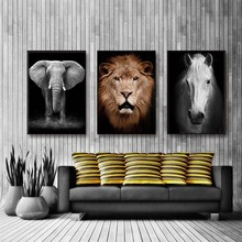 Wild Animals Lion Steed Elephant Canvas Painting For Living Room Modular Wall Art Murals Picture Poster And Prints Home Decor