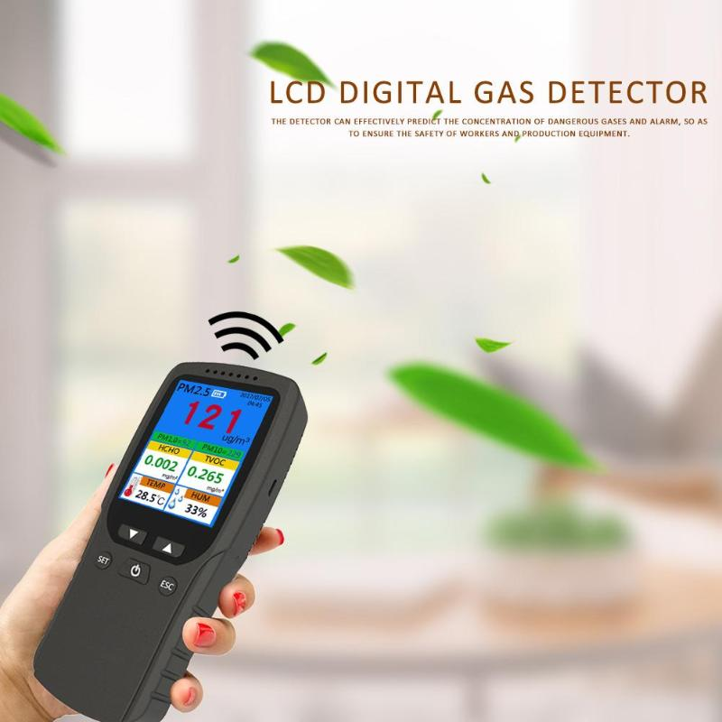 Gas Monitor Formaldehyde PM2.5/HCHO/TVOC/AQI Temperature humidity Meter Thermometer Hygrometer Gas Detector Analyzer 8 in 1Gas Monitor Formaldehyde PM2.5/HCHO/TVOC/AQI Temperature humidity Meter Thermometer Hygrometer Gas Detector Analyzer 8 in 1
