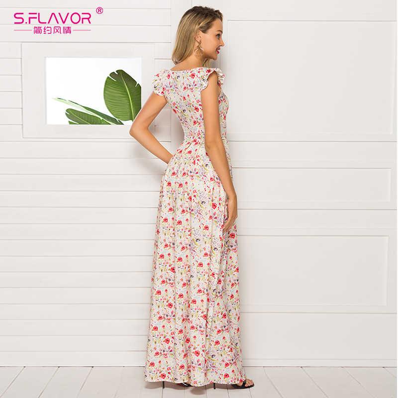Женское платье во французском стиле S.FLAVOR, облегающее длинное клубное платье с цветочным принтом, повседневные летние платья 2019