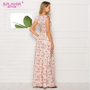 Image 5 - Sabor francês estilo floral impresso vestido feminino 2020 venda quente sem mangas magro verão longo vestidos maxi casuais