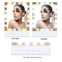Decorative mirror 18 LEDs Lighted Square Vanity Desk Stand Hanging Makeup Mirror ABS Touch Screen Brightness Adjustable USB
