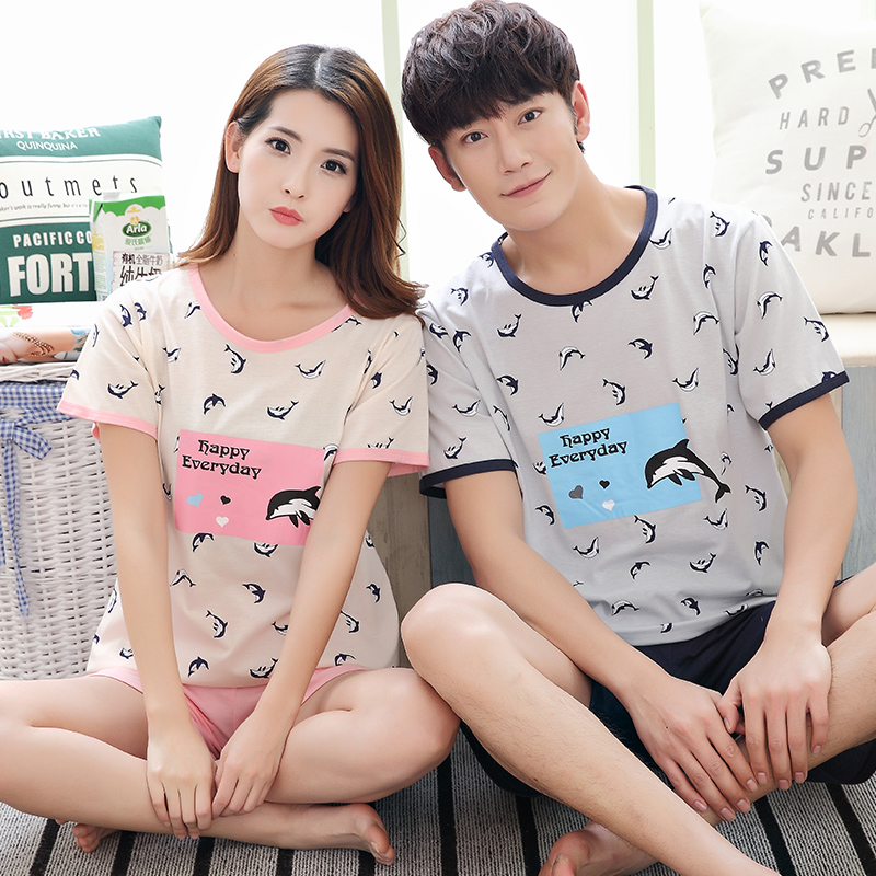 New Summer Cotton Couples Pajamas Sets Mens Pajamas Sweet Girls Cartoon Lounge Suits Sleepwear Women Pyjama femme 3XL Clothing