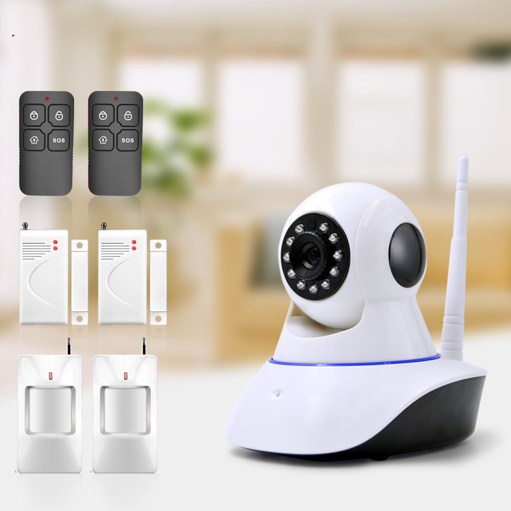 ФОТО Free Shipping WAN & Wifi Camera , IP Camera with 433MHz alarm, you can add door detector, movement detector etc.