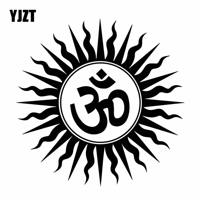 YJZT 15.7CM*15.7CM Vinyl Decal Mysterious Om Hindu Religious India Sanskrit Symbol Car Sticker Black/Silver C27-0262