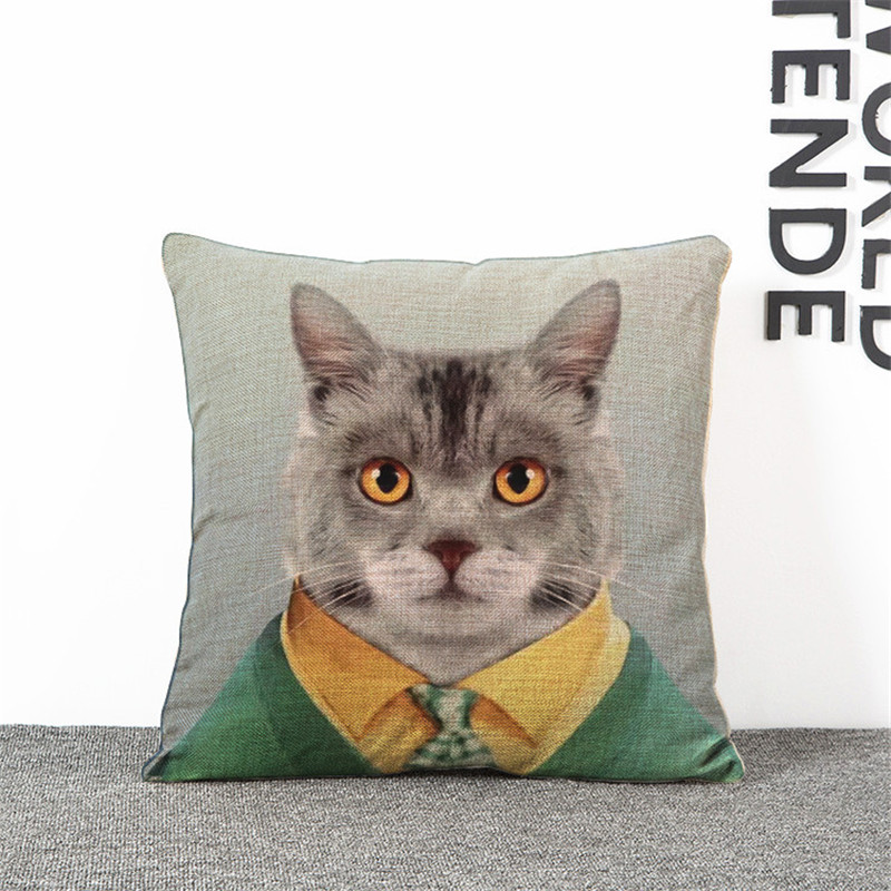 Cartoon cats and dogs Mr animals cartoon cover pillow case 45x45cm Throw sofa chair car seat gift shop decorative cushion covers