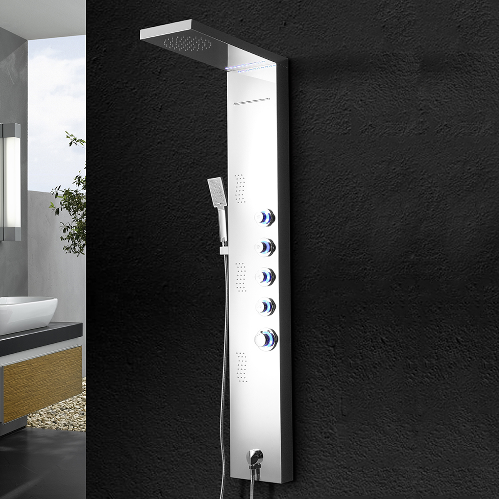 Brushed Nickel Stainless Steel Shower Panel Tower System,LED light Rainfall Waterfall Handle Shower Massage jets, Shower Set