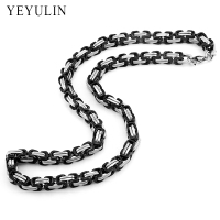 New Arrival 8mm Stainless Steel Square Buckle Chain Gold Silver Black Color Choker Necklace For Men