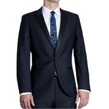 New Arrival Navy Blue Men  Peaked Lapel Wedding Suits For Men 2 Pieces Groomsmen Suit One Button Men Suits Slim Fit