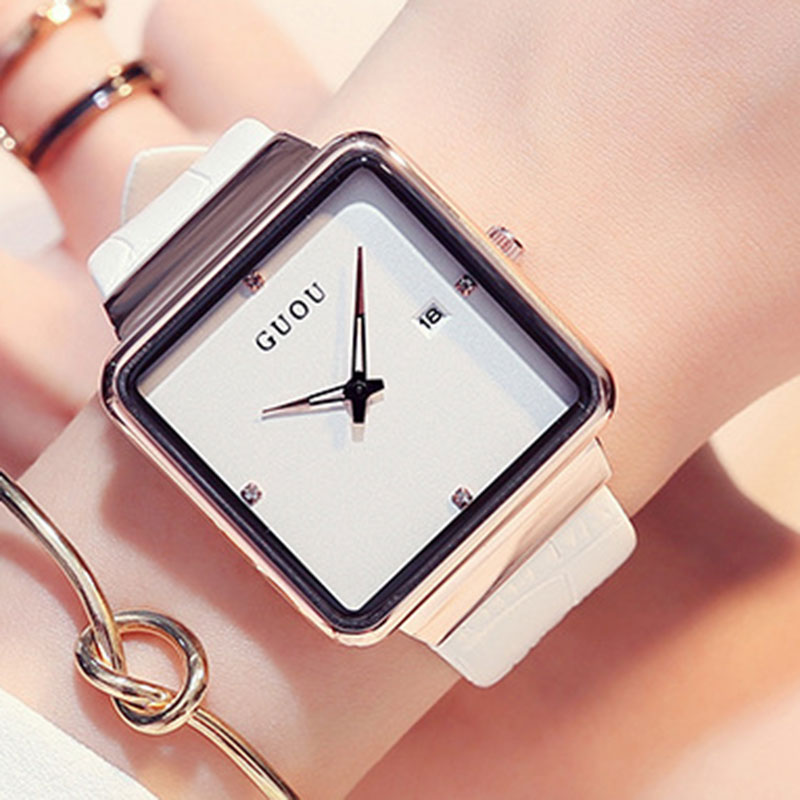 2017 New Luxury Quartz Brand Lady Watches Women Rose Gold Square Casual Leather Dress Wrist watch