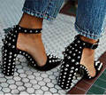 2017 New Real Image Black Women Pumps Sandals Buckle Rivets Sexy Custom Made Plus Size Shoes Square Heels Pointed Toe Sexy Girl