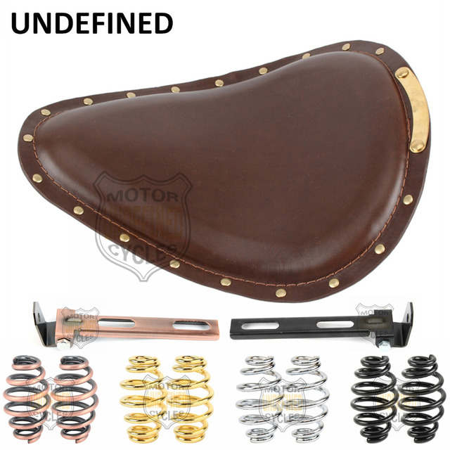 """Motorcycle Black 3"""" Springs Bracket Brown Leather Copper Rivet SOLO Driver Seat For Harley Honda Yamaha Kawasaki UNDEFINED"""
