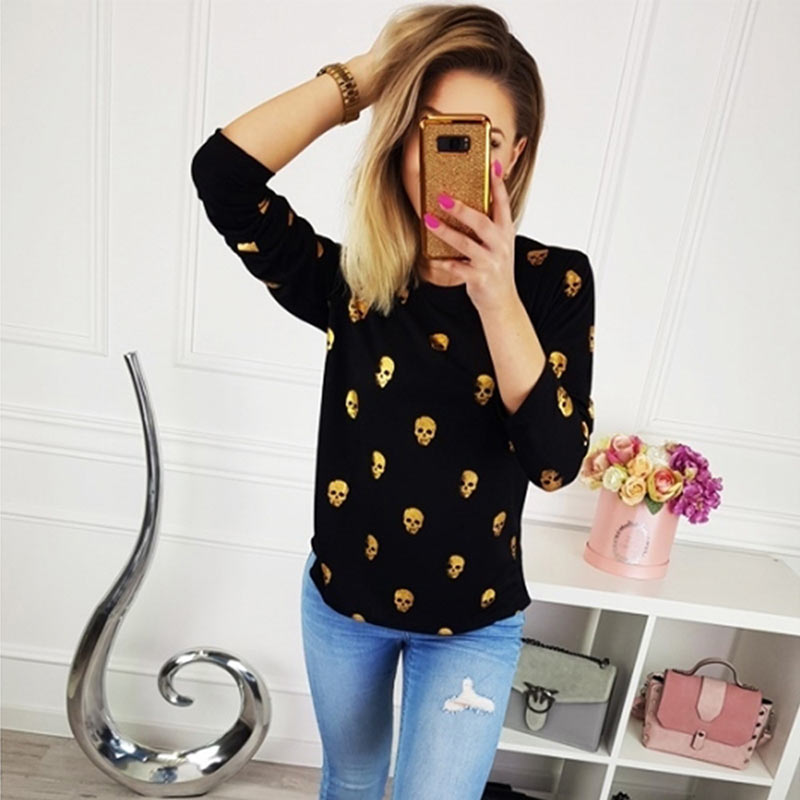 T Shirt Women Streetwear Autumn Skull Bronzing Print Tops Fashion Casual Long Sleeve Round Neck Slim Tee Shirt Femme Clothes (9)