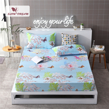 Slowdream 1PCS Sheets On Elastic Band Rubber Sheet Bed Linen Fitted Double Queen Size Adult Corner