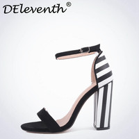 DEleventh Concise Womens Sandals Summer 2017 Striped Buckle Strap Shoes Sandals Open Toe Block Heel Shoes