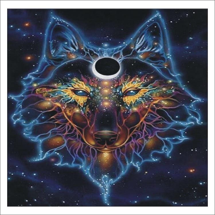 5D DIY Diamond Painting Animal Wolf Full Square Diamond Embroidered Cross Stitch Diamond Crystal Mural Home Decoration T009