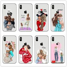 Fashion Black Brown Hair Baby Super Mom Girl Queen 01 Case For iPhone X XS Max XR 8 7 6 6s PlusSE Silicone dad Woman Phone Cover(China)