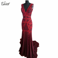 2014 Sexy Elie Saab Burgundy Beaded V Neck Open Back Long Mermaid Chiffon Special Event Evening