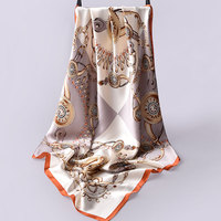 90x90cm Square Silk Scarf Luxury Brand Women Bandana Floral Silk Head Scarves Stoles Women Pure Silk