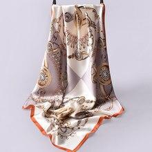 90x90cm Square Silk Scarf Luxury Brand Women Bandana Floral Silk Head Scarves Stoles Women Pure Silk Scarfs Square Silk Shawls недорго, оригинальная цена