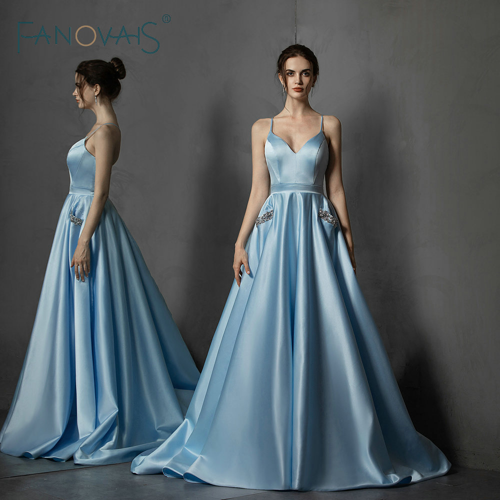 BLUE Satin Evening Dresses Simple Prom Dress With Pockets Vestido de Fiesta 2019 robe de soiree