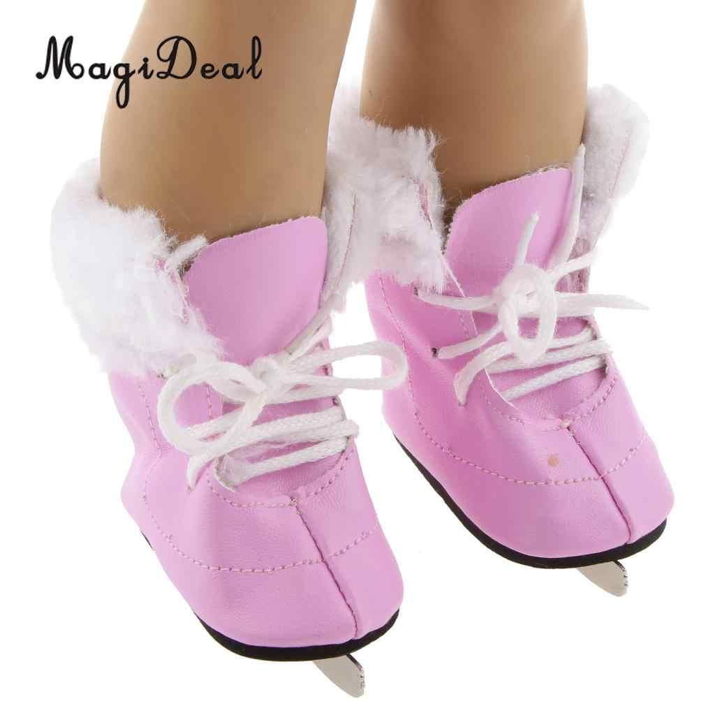 MagiDeal Модные 1 пара Розовые Коньки ПЕНЫ обувь с зашнуровать шнурки для 18 дюймов куклы детей катанию выполнить игрушки