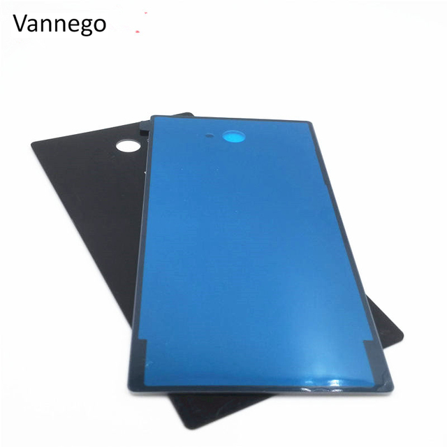 Vannego Case For Sony Xperia M2 S50h Dual D2302 D2305 Rear glass Back Cover Battery Door Housing Double Sticker Replacement part