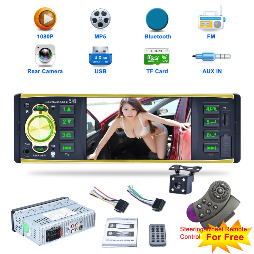 цены Hot Sale 4019B 4.1inch 1 Din Car Radio Audio Stereo 1Din USB AUX FM Radio Station Bluetooth with Rearview Camera Remote Control
