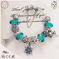 Luxurious Silver Jewelry Christmas Gifts  Green Murano Charm Series Famous Brand 925 Sterling Silver Charm Bracelet