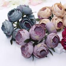 Lote 6 uds rosas artificiales cabezas de té Vintage Bud ramo de flores de Boda nupcial ramillete guirnalda matrimonio falso flores