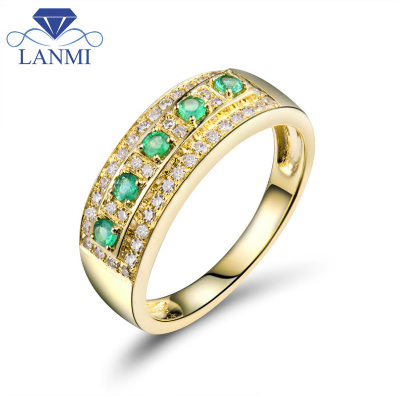 Lanmi Diamond Rings Classic Stable 18Okay Yellow Gold Pure Inexperienced Columbia Emerald Gemstone Marriage ceremony Males&ladies Ring For Celebration Reward