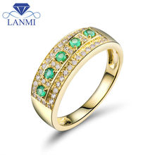 LANMI Diamond Rings Vintage Solid 18K Yellow Gold Natural Green Columbia Emerald Gemstone Wedding Men&Women Ring For Party Gift
