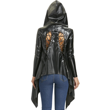 Gamiss Jacket Women Autumn Spring Coat Black Back Lace Up Hooded Asymmetric PU Leather Jacket Womens Outwear Coats Ladies Top