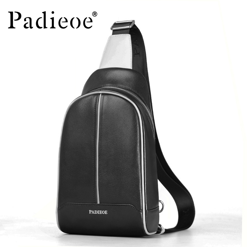 ФОТО Padieoe 100 % Genuine Leather Chest bag fashion men's shoulder bags Luxury Durable Chest bag Casual Male Chest crossbody bags