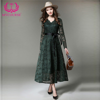 Lace Splicing Pleated Maxi Evening Dress Women Long Sleeve Single Breasted V Neck Hollow Out Patchwork