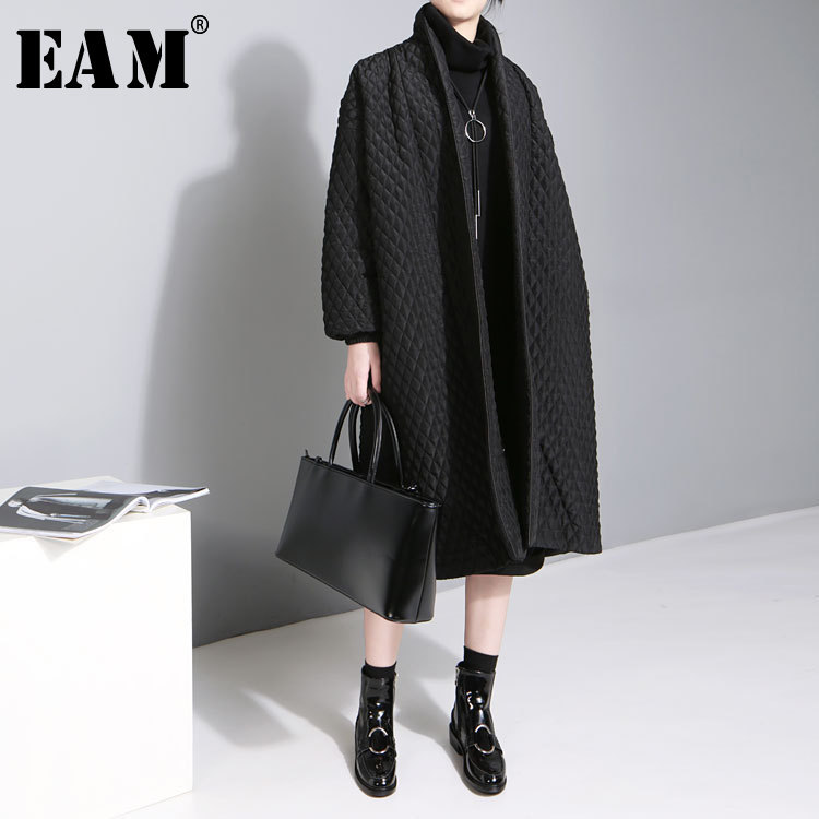 EAM 2019 New Large Size Temperament Solid Color Long sleeved Long Paragraph Cotton Jacket Female