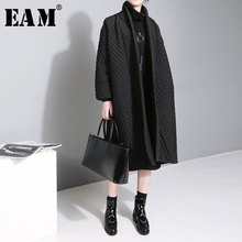 [EAM] 2017 New Plus Size Temperament Solid Color Long-sleeved Long Paragraph Cotton Jacket Female WTH
