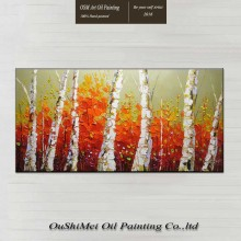 Oil Painting 100% Hand-painted Modern Design Knife Canvas Orange Forest Landscape Paintings On Big Size
