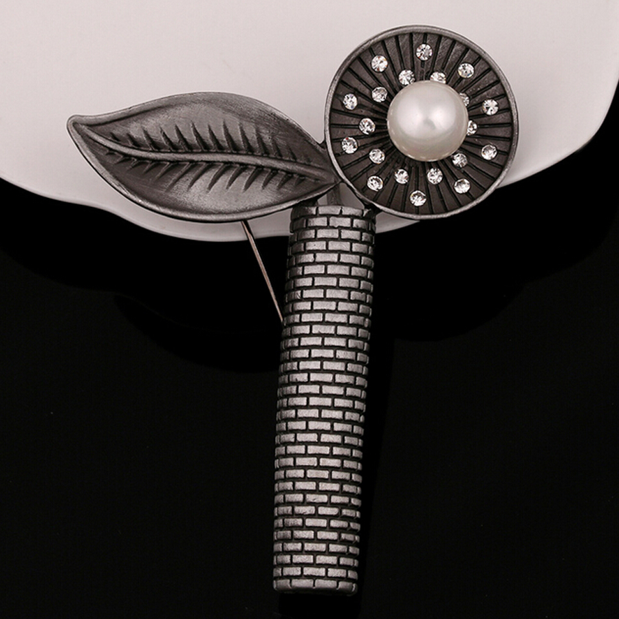 Brooches for font b Women b font Imitation Pearl Flower With Leaves British Style Suits font