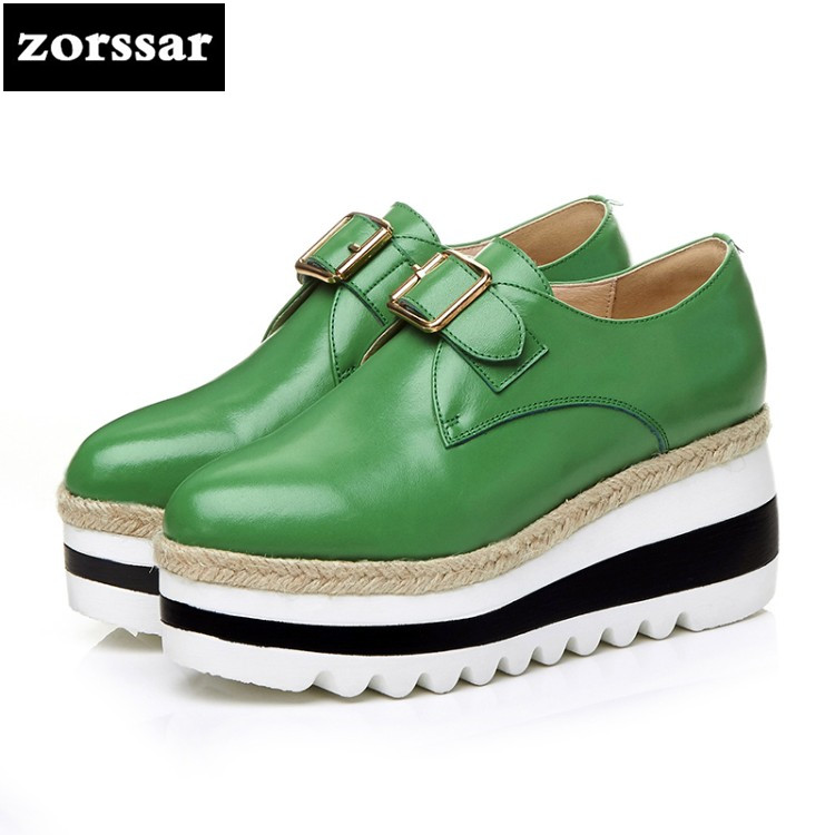 {Zorssar} 2018 New Genuine Leather womens creepers shoes Round toe Wedges High heels pumps Fashion buckle Ladies Platform Shoes genuine cow leather spring shoes wedges soft outsole womens casual platform shoes high heel round toe handmade shoes for women