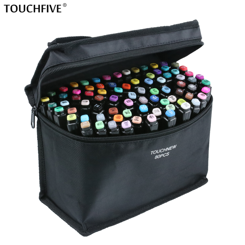 Touchfive 30/40/60/80/168 Colors Sketch Marker Pen Set Twin Markers Brush Pen For Drawing Manga Architecture Design Art Supplies