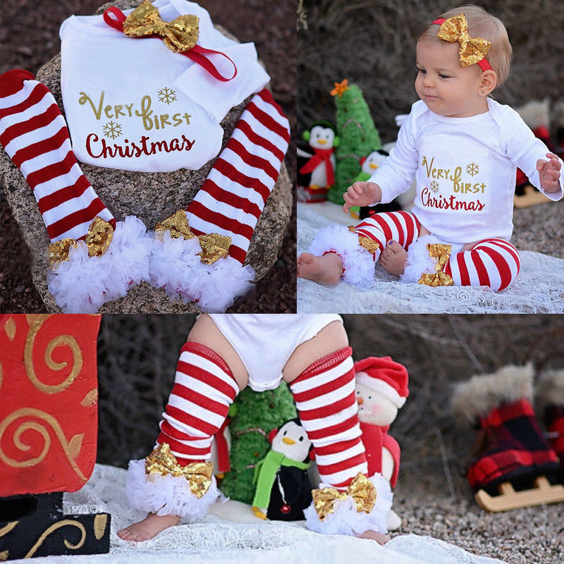 3Pcs Christmas Newborn Baby Girls Bodysuit Onesie Clothing Set Infant Girls Letter Bodysuits+Leg Warmer+Headband Outfit Clothes marksojd