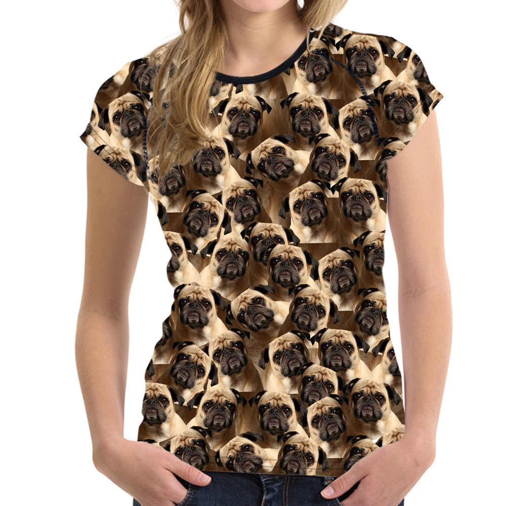 Noisydesigns面白い3dパグ犬女性ベーシックtシャツ夏の女性トップスoネック息女性半袖tシャツのための女の子フェミニン