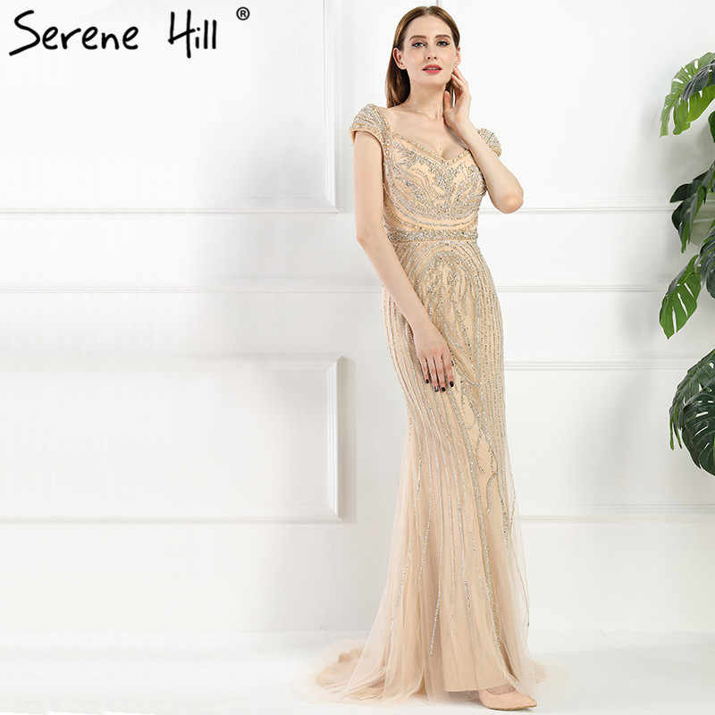 ... Sexy Off Shouler Diamond Gold Nude Mermaid Evening Dresses Sparkly  Evening Gown 2019 Real Photo LA6110 ... 90e794e9d16d